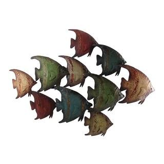 Colorful School of Angelfish Metal Wall Hanging