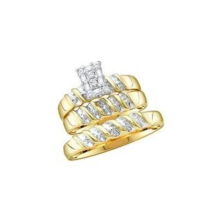 1/10Ctw Diamond Cluster Trio Set 10K Yellow-Gold - White I-J