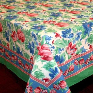 Handmade Vibrant Floral Brush Stroke Print 100% Cotton Tablecloth Green  Blue 60x90 Rectangular 60x60 Square