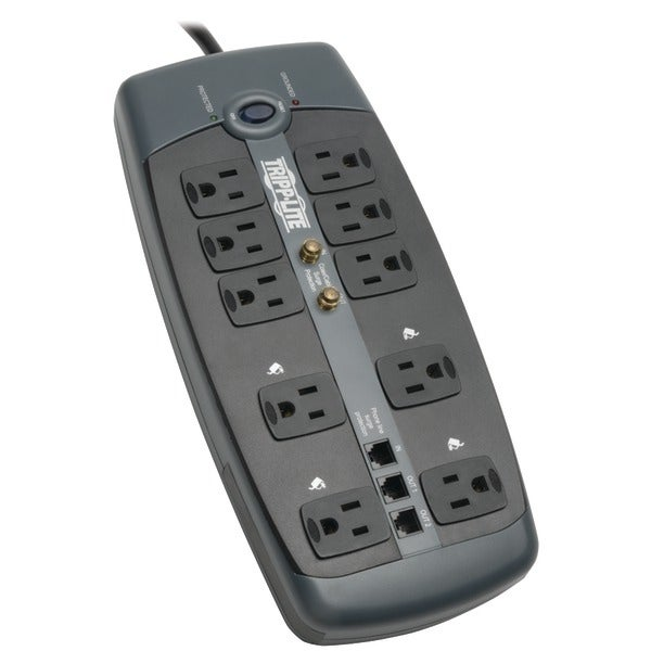 Tripp Lite Tlp1008Teltv 10-Outlet Surge Protector With Telephone Protection (With Coaxial/Modem Protection, 3,345 Joules)