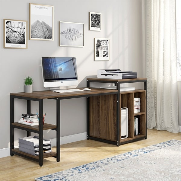 """Large Computer Desk with Storage Shelf, 47"""" Home Office Desk with Printer Stand. Opens flyout."""