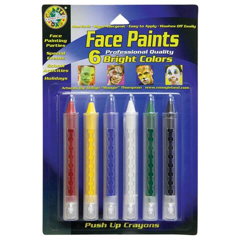 (6 Pk) Crafty Dab Push-Up Face Paints Bright 6 Per Pk