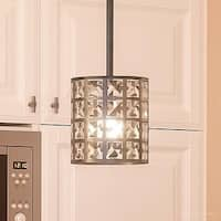 "Luxury Crystal Hanging Pendant Light, 7.5""H x 6.5""W, with Metropolitan Style, Drum Design, Royal Bronze Finish"