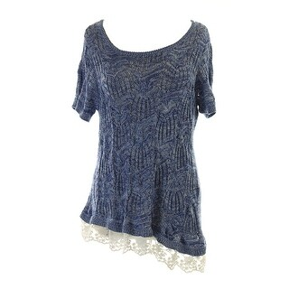 Inc International Concepts Blue Plus Size Lace-Hem Open-Knit Top 0X