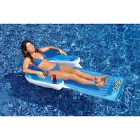 "72"" Water Sports Inflatable Baja Easy Lounger Swimming Pool Chair Raft - White"