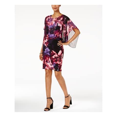 SLNY Purple Short Sleeve Above The Knee Shift Dress Size 4