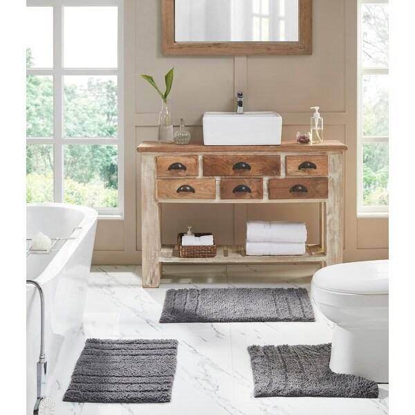 Erin 3-Piece Solid Plush Soft Cotton Bath Rug Set. Opens flyout.