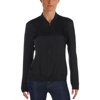 Theory Womens Petites Baharah Military Jacket Silk