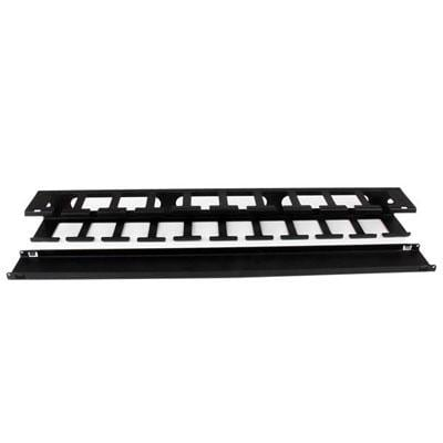 Startech 1U Horizontal Finger Duct Rack Cable Management Panel With Cover Cmduct1ux Black