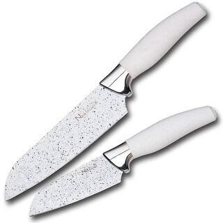 "New England Cutlery Marble Finish Plus Santoku Knife Set, 5"" and 7"", White"