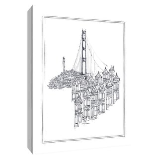 """PTM Images 9-154768  PTM Canvas Collection 10"""" x 8"""" - """"Golden Gate"""" Giclee buildings and Landmarks Art Print on Canvas"""