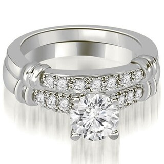 1.08 CT Prong-Set Round Diamond Matching Engagement Set in 14KT Gold - White H-I