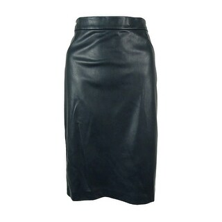 Bar III Women's Faux-Leather Pencil Skirt - Midnight Green
