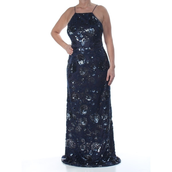 ADRIANNA PAPELL Womens Navy Embroidered Sequin Spaghetti Strap Square Neck Full-Length Sheath Evening Dress Size: 12