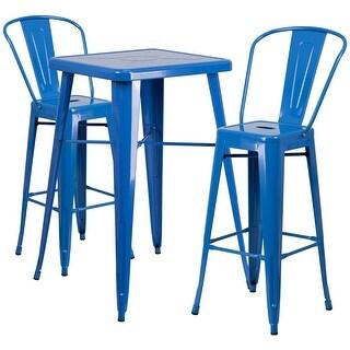 Brimmes 3pcs Square 23.75'' Blue Metal Table w/2 Barstool