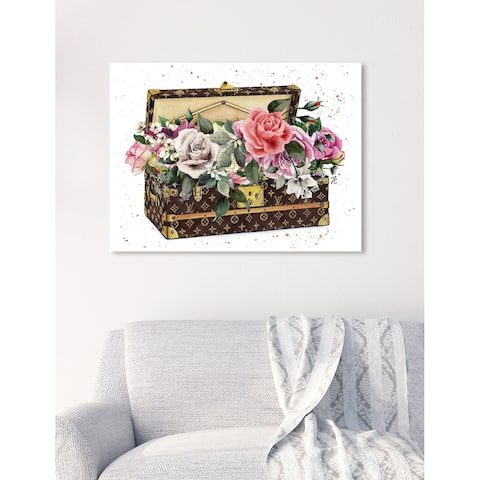 Oliver Gal 'Doll Memories-Bouquet in Trunk' Fashion and Glam Wall Art Canvas Print - Brown, Pink