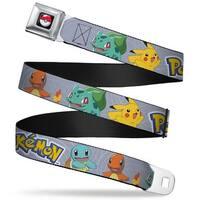 Pok Ball Full Color Black Pokmon Kanto Starter Pokmon & Pikachu Gray Seatbelt Belt