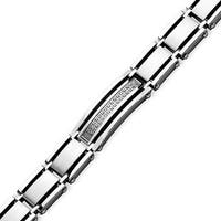 Chisel Stainless Steel CZs Satin & Polished 8.5 Inch Bracelet