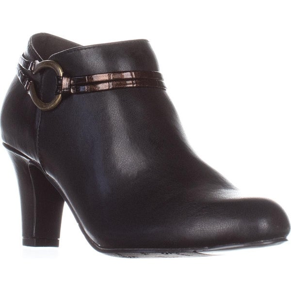 Easy Street Jem Ankle Booties, Brown/Bronze Patent Croc - 5.5 us