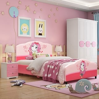 Costway Kids Children Upholstered Platform Toddler Bed Bedroom