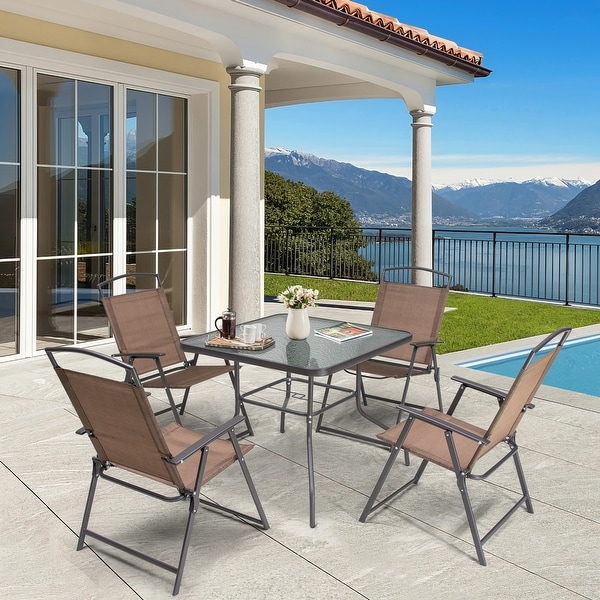 5 Piece Patio Dining Set with Umbrella Hole. Opens flyout.