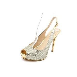 Guess Huela2 Women Peep-Toe Synthetic Gold Slingback Heel