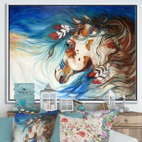 Designart 'The Drifter Indian War Horse' Cottage Premium Framed Canvas Wall Art