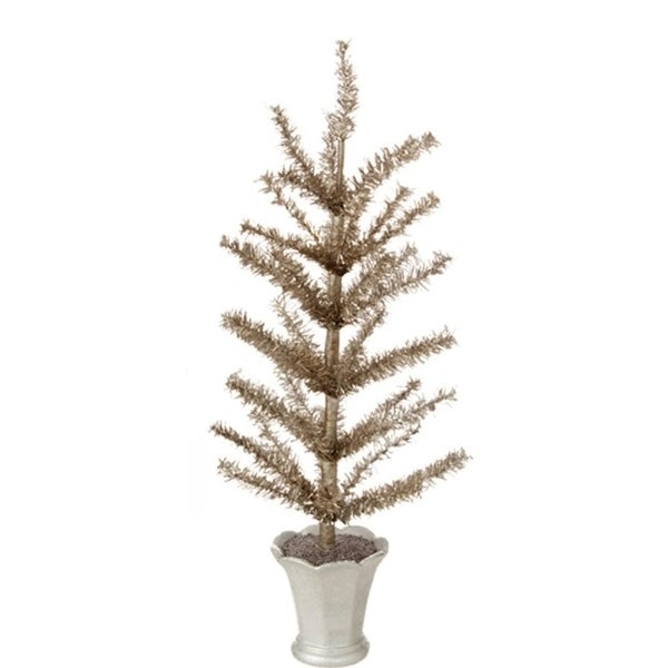 "15"" Winter Light Gilded Grey Artificial Christmas Tinsel Tree in Glittered Silver Pot - Unlit"