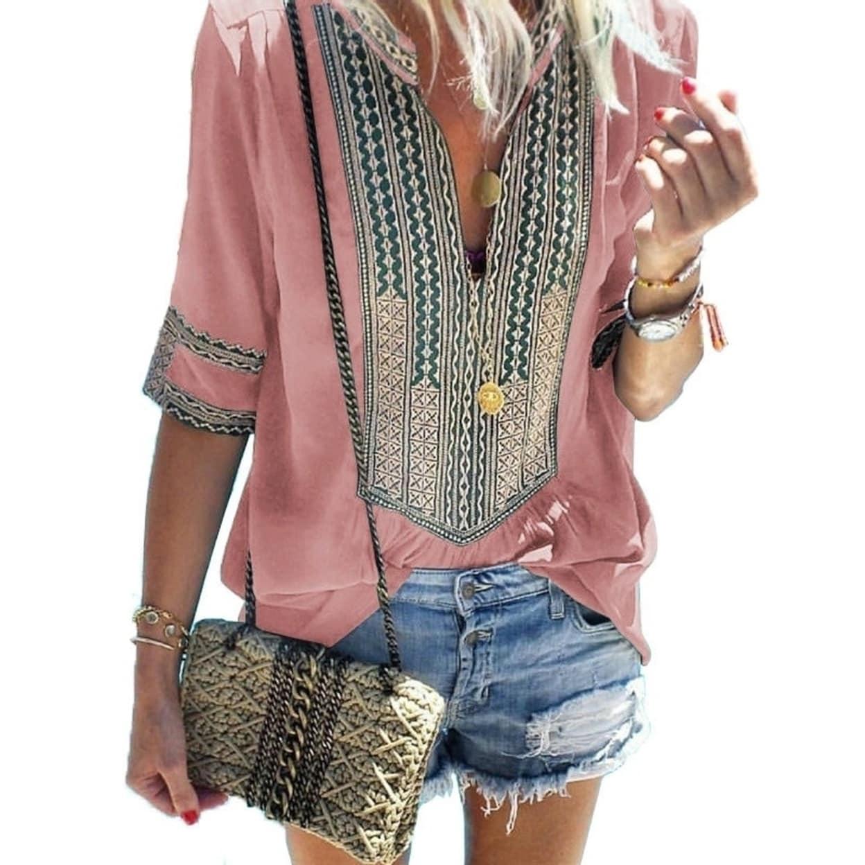 Memela Women Casual Boho Floral Print Pullover Tops V-Neck Long Lantern Sleeve T-Shirt Stylish Drawstring Blouse Tops Shirts