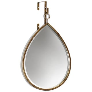 "Harp and Finial HFM12521  Haile 24"" x 16"" Specialty Beveled Metal Framed Wall Mirror - Gold"