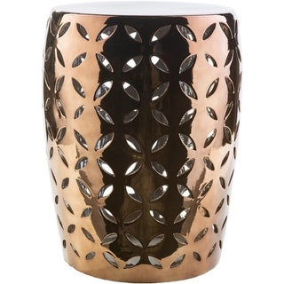 "18"" Glossy Brown Indoor/Outdoor Decorative Ceramic Garden Stool"