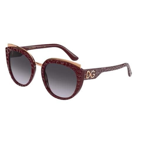 Dolce & Gabanna DG4383 32898G 54 Bordeaux Texture Cocco Woman Butterfly Sunglasses