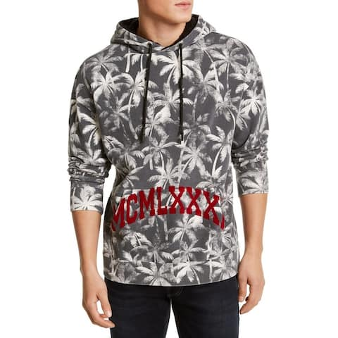 Guess Mens Sweater Washed Gray Medium M Sherpa-Lined Roy Palms Hoodie