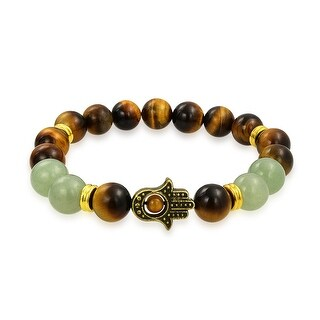 Gold Plated Hamsa Hand Tiger Eye Jade Stretch Beads Bracelet