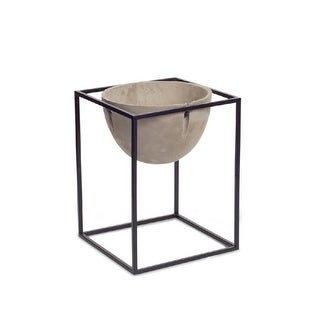 14.5 Fossil Gray and Midnight Black Large Round Cement Pot with Metal Stand