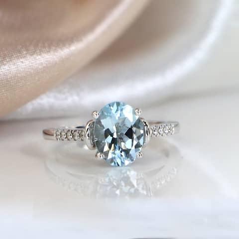 Auriya 1 1/5ct Fancy Oval Aquamarine and Diamond Engagement Ring 1/6ctw 14k Gold