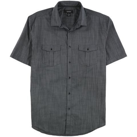 Alfani Mens Warren Textured Button Up Shirt, Grey, Medium