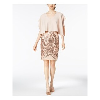 Link to BETSY & ADAM Beige Short Sleeve Above The Knee Sheath Dress  Size 8 Similar Items in Petites