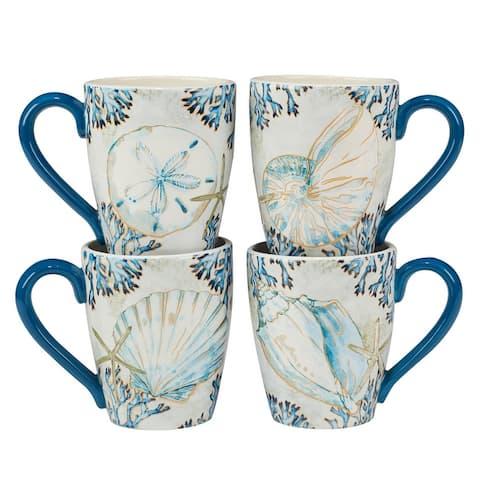 Certified International Playa Shells 18 oz. Mugs, Set of 4