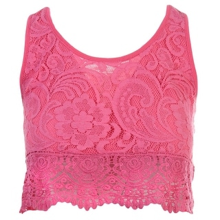 Self Esteem Womens Juniors Crop Top Slub Lace-Trim