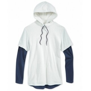 American Rag NEW Beige Navy Mens Size 2XL Drawstring Hooded Sweater