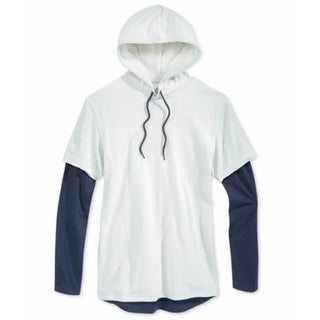 American Rag NEW Navy Beige Oatmeal Mens XL Hooded Long Sleeve Sweater