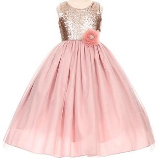 Flower Girl Dress Elegant Sequin Bodice Floor Length Dusty Rose CC 1204