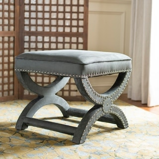 Link to Safavieh Dante X-Bench Pewter Grey Ottoman Similar Items in Living Room Furniture