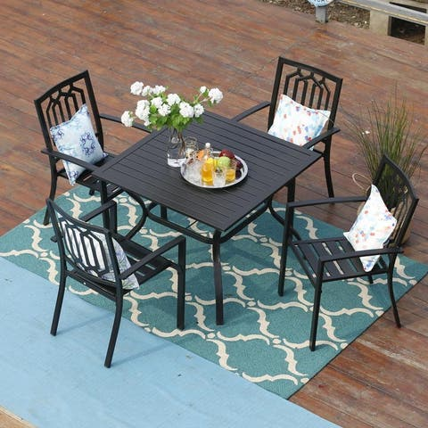PHI VILLA Metal Outdoor Patio Dining Set, Table and 4 Chairs Set of 5