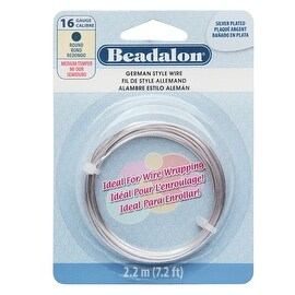 Beadalon Craft Wire, German Style Round Copper Wire 16 Gauge, 7.2 Feet, Silver Plated
