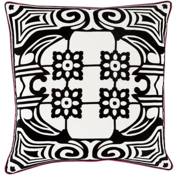 """20"""" Lace White and Jet Black Cast a Spell Decorative Throw Pillow - Down Filler"""