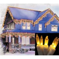 Frosted Gold Mini Icicle Christmas Lights - White Wire, Set Of