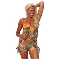 Women's 2-Piece Camo Bikini Orange True Timber Tankini Top & String Shorts Swimwear Swimsuit