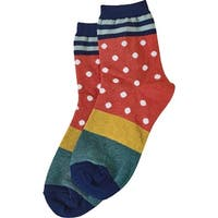 Women's Socks - Dots 'N Stripes Socks - Navy - One size